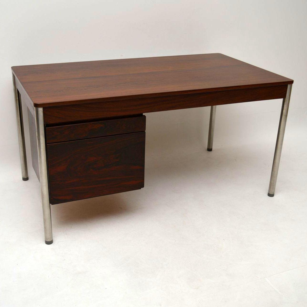 Retro rosewood chrome desk by archie shine vintage 1960 - Retro office desk ...