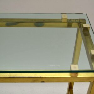 Retro Brass & Glass Console Table Vintage 1970's