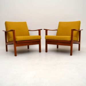 Pair of Swedish Teak Retro Armchairs Vintage 1960's