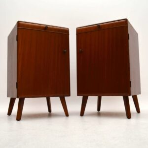 Pair of Retro Mahogany Bedside Cabinets Vintage 1950's
