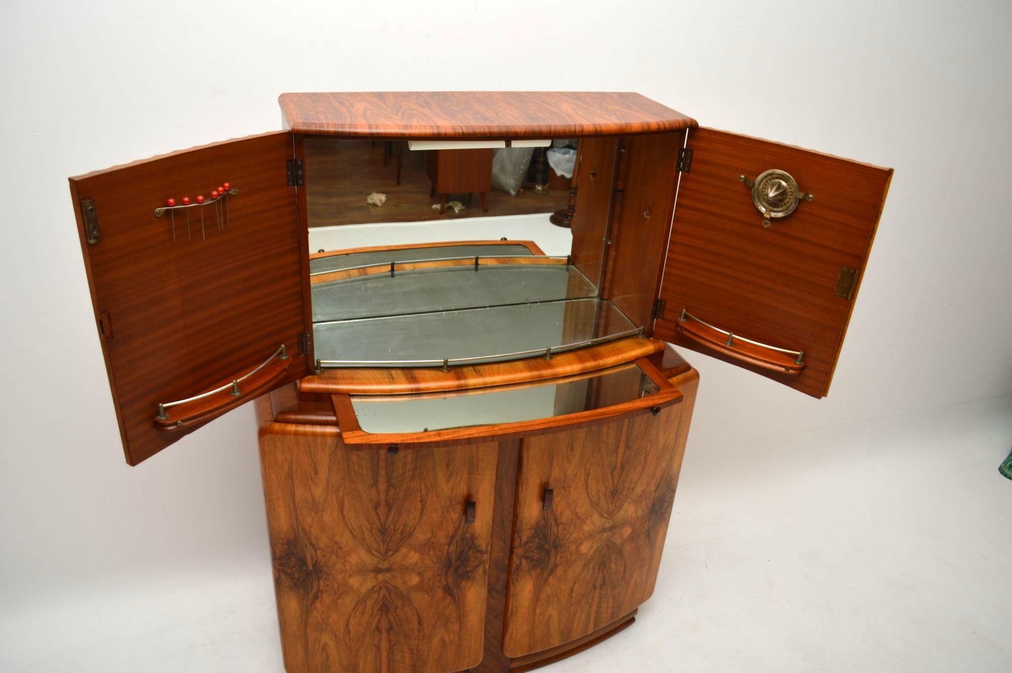 Art Deco Figured Walnut Cocktail Cabinet Vintage 1930 S