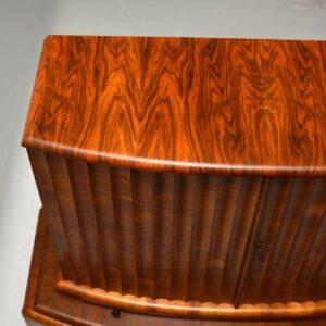 Art Deco Figured Walnut Cocktail Cabinet Vintage 1930's