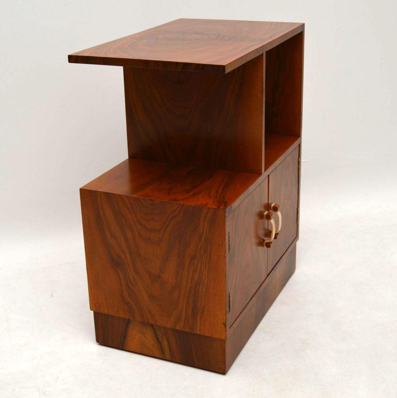 Art Deco Vintage Walnut Cabinet Side Table