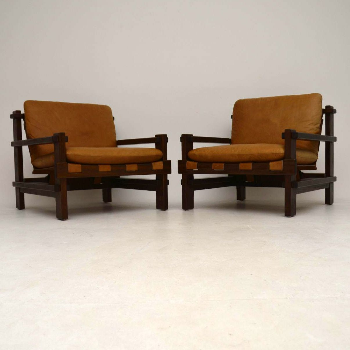 1960's Pair of Danish Leather Armchairs