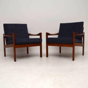 1960's Pair of Danish Teak Armchairs by Illum Wikkelso for Niels Eilersen