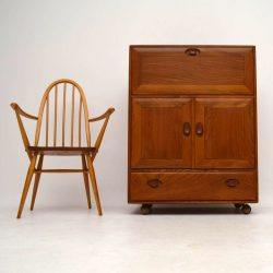 1960's Vintage Ercol Writing Bureau & Chair in Solid Elm