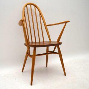 1960's Vintage Ercol Writing Bureau & Chair in Solid Elm