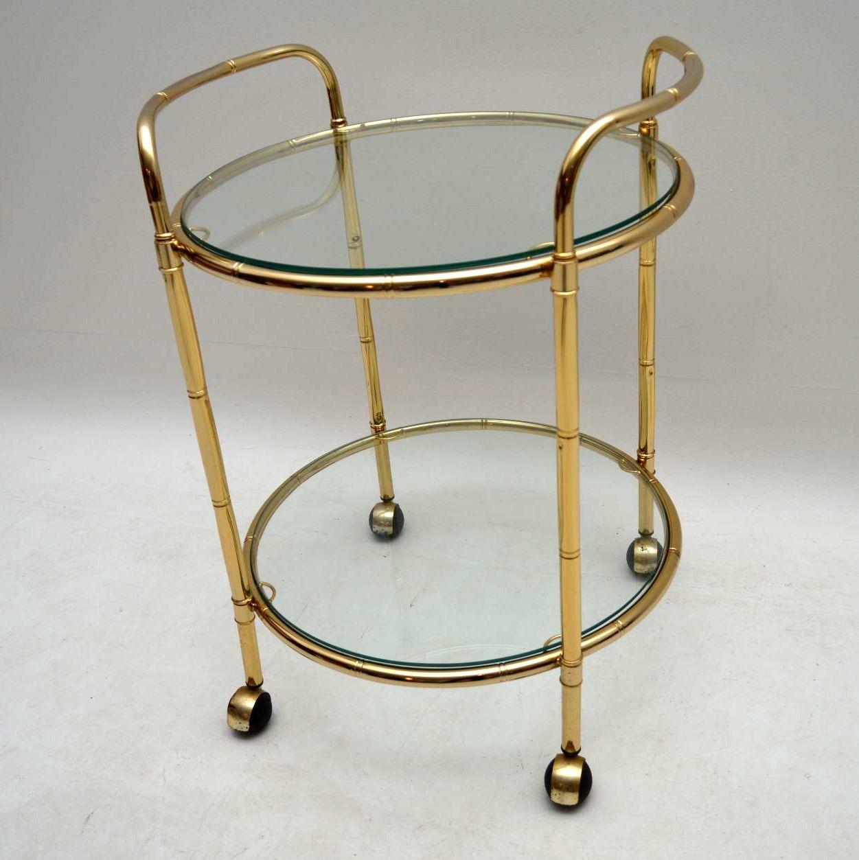 1970 S Brass Drinks Trolley In Bamboo Effect
