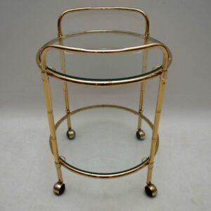 1970's Brass Drinks Trolley in Bamboo Effect