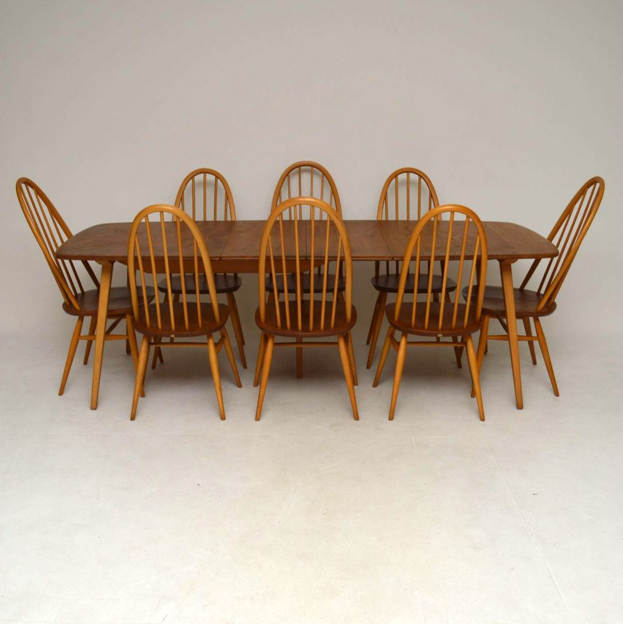 1960's Ercol Grand Windsor Dining Table & Eight Chairs