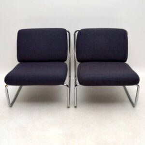 Pair of 1970's Vintage Lounge Chairs in Tubular Steel