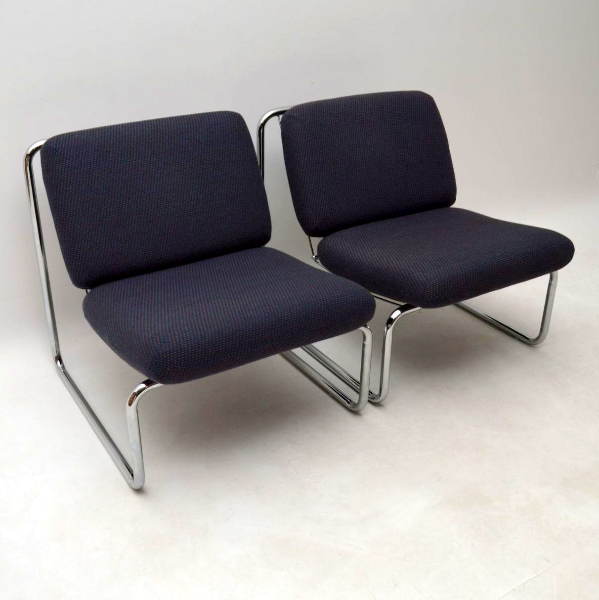 Pair Of 1970 S Vintage Lounge Chairs In Tubular Steel