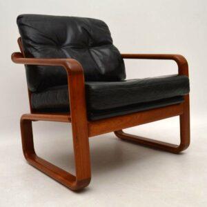 Pair of 1960's Danish Teak & Leather Armchairs