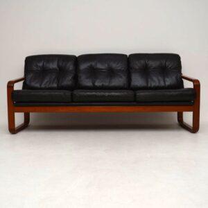 1960's Danish Teak & Leather Vintage Sofa