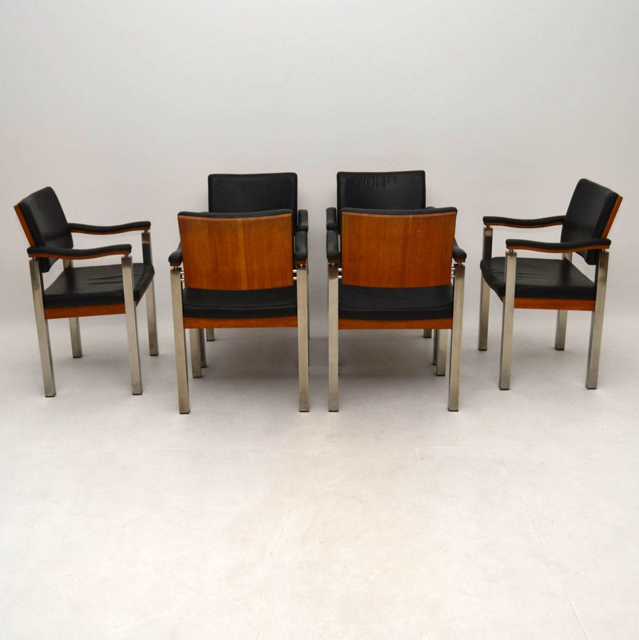 Set of 6 vintage dining chairs in teak leather and chrome