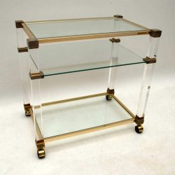 Vintage 1970's Drinks Trolley in Glass & Lucite