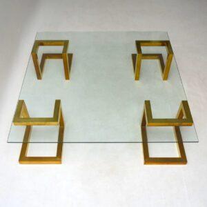 1970's Vintage Italian Brass & Glass Coffee Table