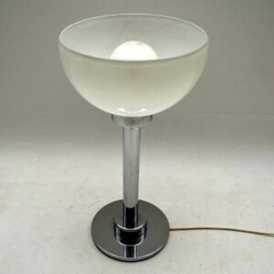 1960's Vintage Chrome & Glass Table Lamp