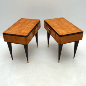 1950's Pair of Italian Elm Bedside Tables