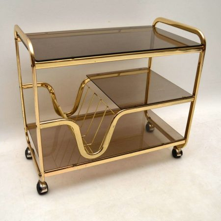 1970's Vintage Italian Brass Drinks Trolley