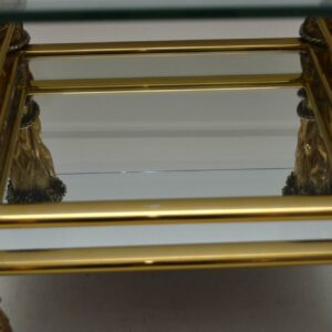 1960's Vintage Brass & Glass Decorative Coffee Table