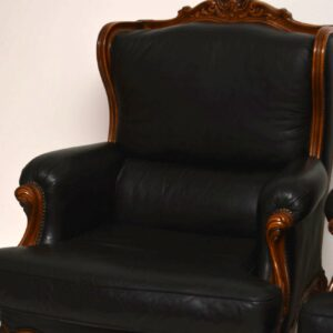 Pair of Antique French Louis Style Leather Armchairs