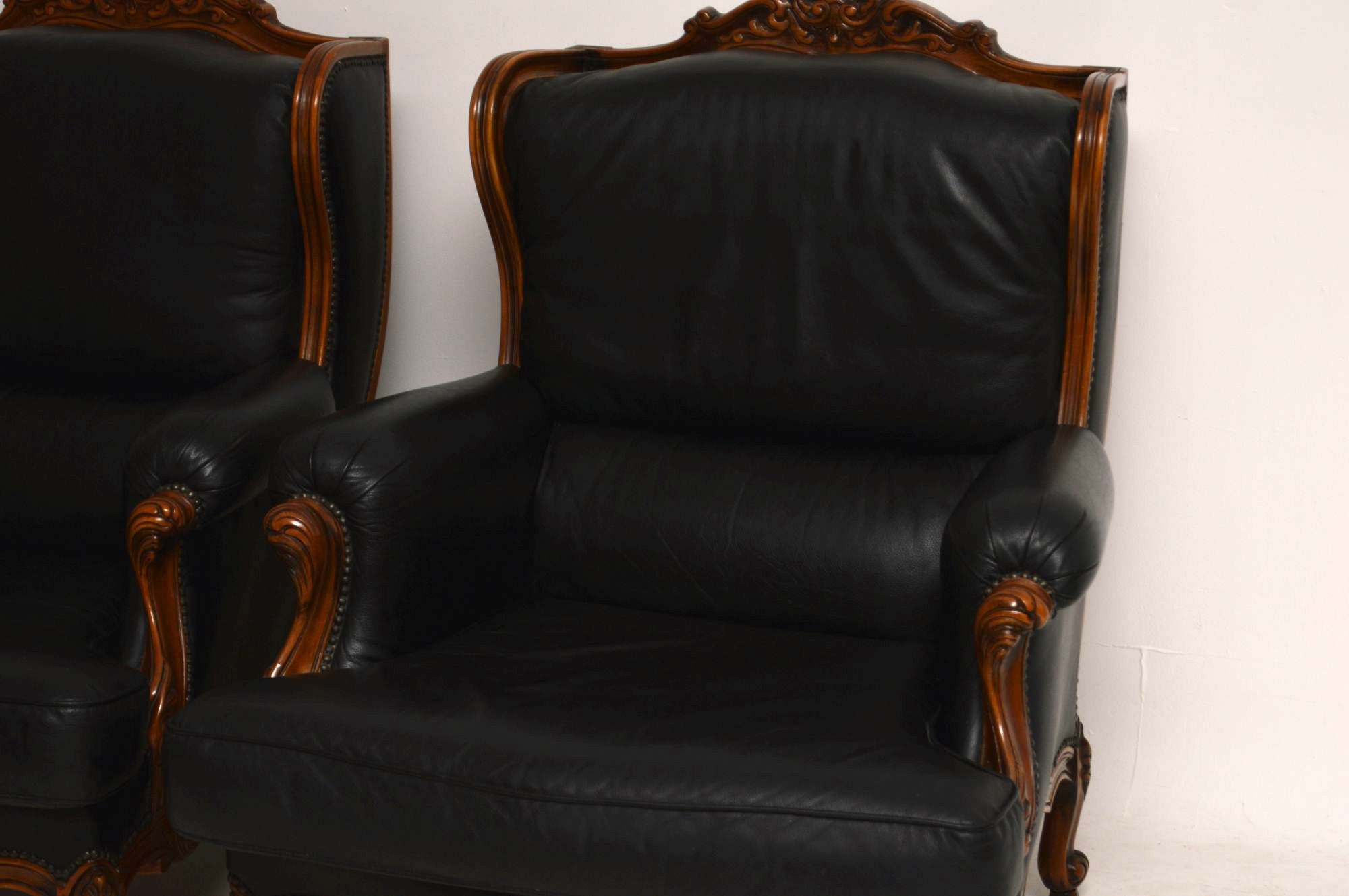 pair of antique french louis style leather armchairs retrospective