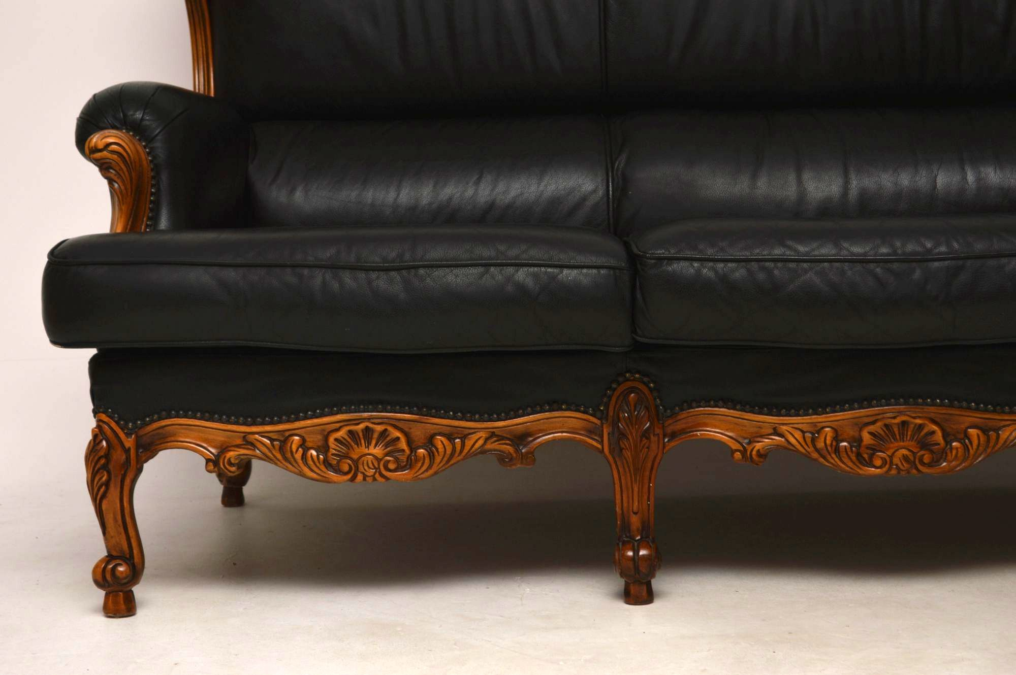 ... Antique French Louis Style Vintage Leather Sofa ...
