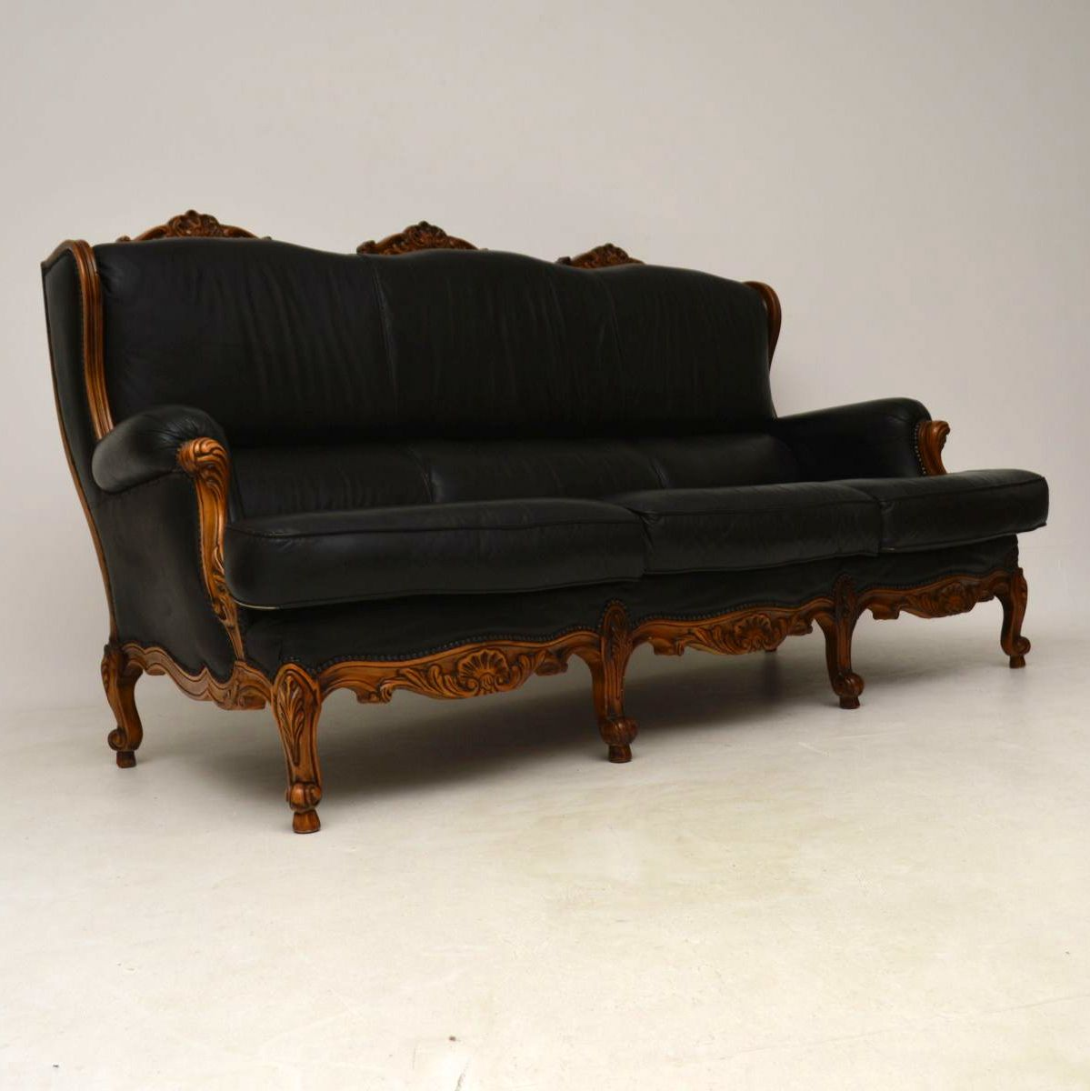 Antique French Louis Style Vintage Leather Sofa ...