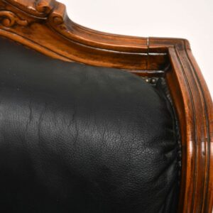 Antique French Louis Style Vintage Leather Sofa