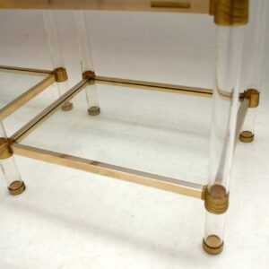 1970's Pair of French Lucite / Brass / Glass Side Tables