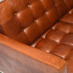 Vintage Florence Knoll Leather & Chrome Sofa