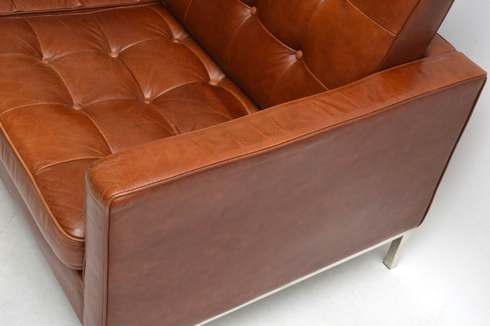 Vintage Florence Knoll Leather Amp Chrome Sofa