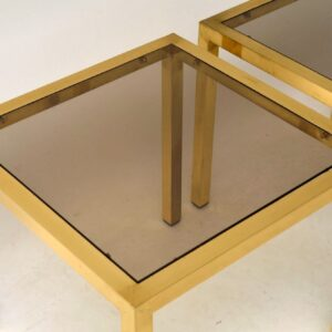 1970's Pair of Brass Vintage Side Tables