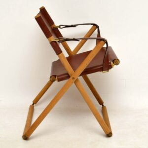 Pair of Danish Vintage Leather Folding Safari Chairs