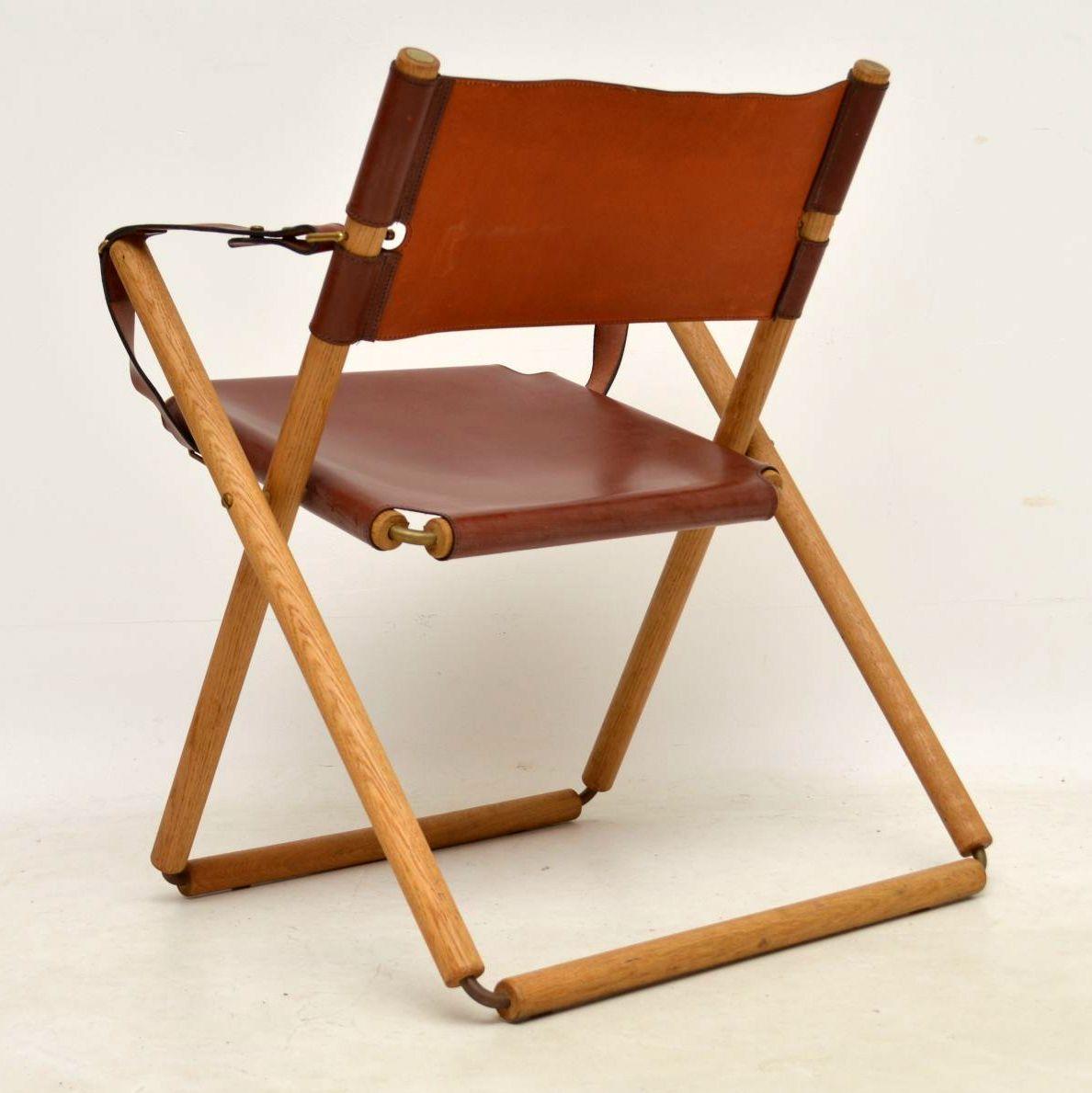 Pair Of Danish Vintage Leather Folding Safari Chairs