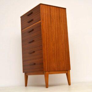 1960's Walnut Vintage Tallboy Chest of Drawers