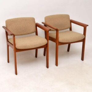 1960's Pair of Danish Teak Vintage Armchairs by Erik Kirkegaard