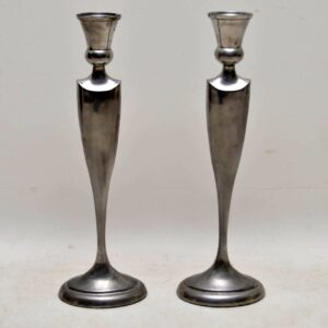 1960's Pair of Stainless Steel Large Vintage Candlesticks