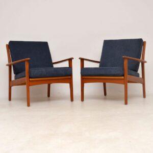 1960's Pair of Swedish Teak Vintage Armchairs