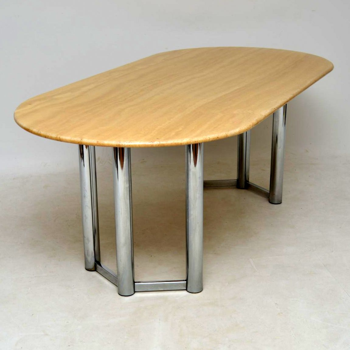 1970 S Vintage Italian Marble And Chrome Dining Table