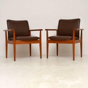 1960's Pair of Danish Leather & Teak Vintage Armchairs by Finn Juhl