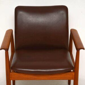 1960's Danish Vintage Teak & Leather Diplomat Armchair by Finn Juhl