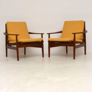 1960's Pair of Danish Teak Armchairs by Grete Jalk for Glostrup