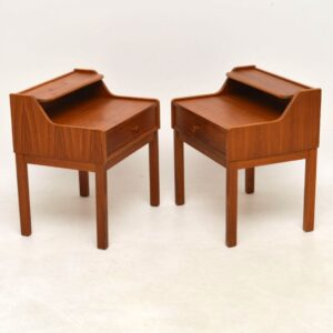 1960's Pair of Vintage Swedish Teak Bedside Tables