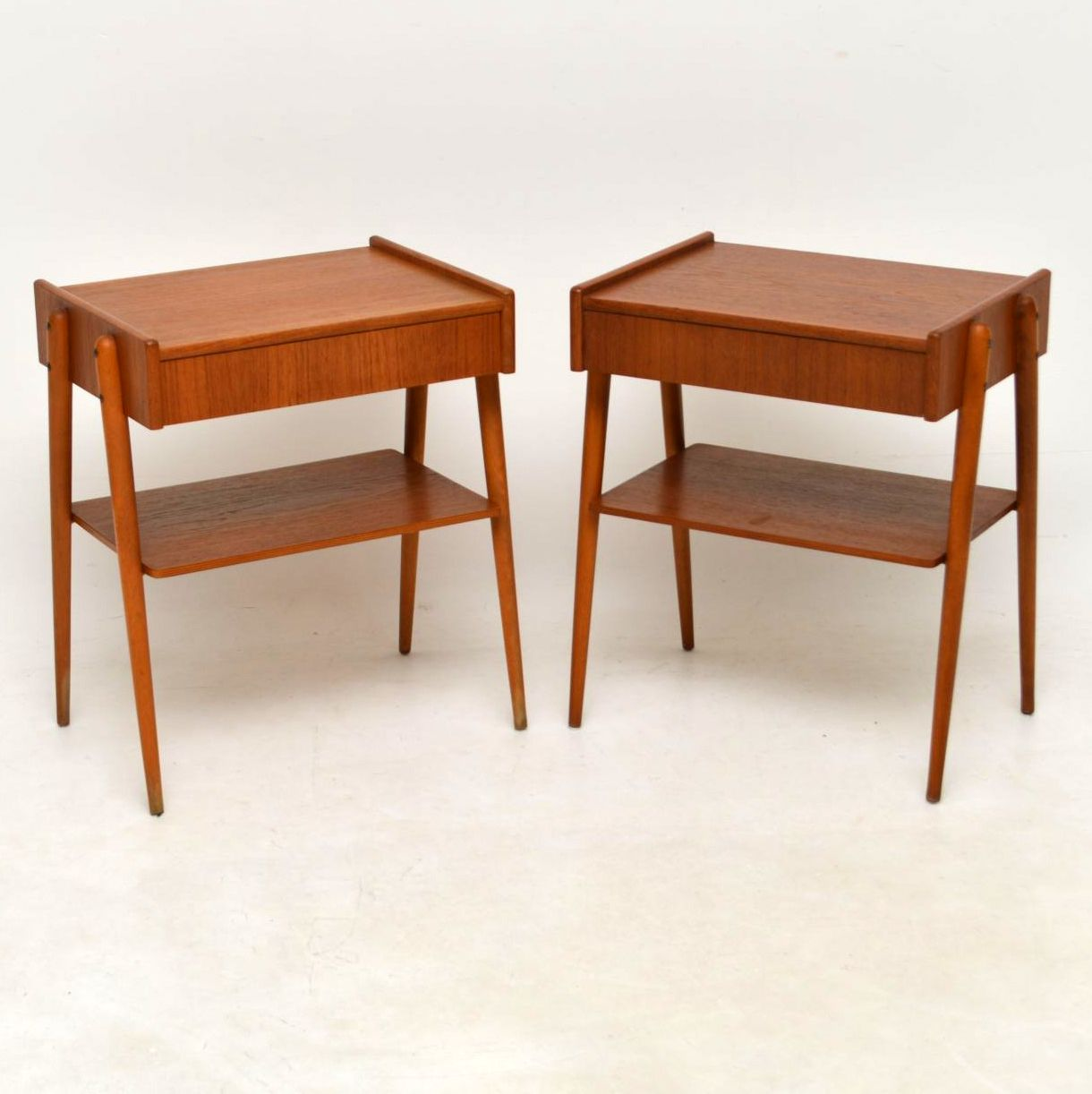 1960 S Pair Of Swedish Teak Vintage Bedside Tables By Ab Carlstrom