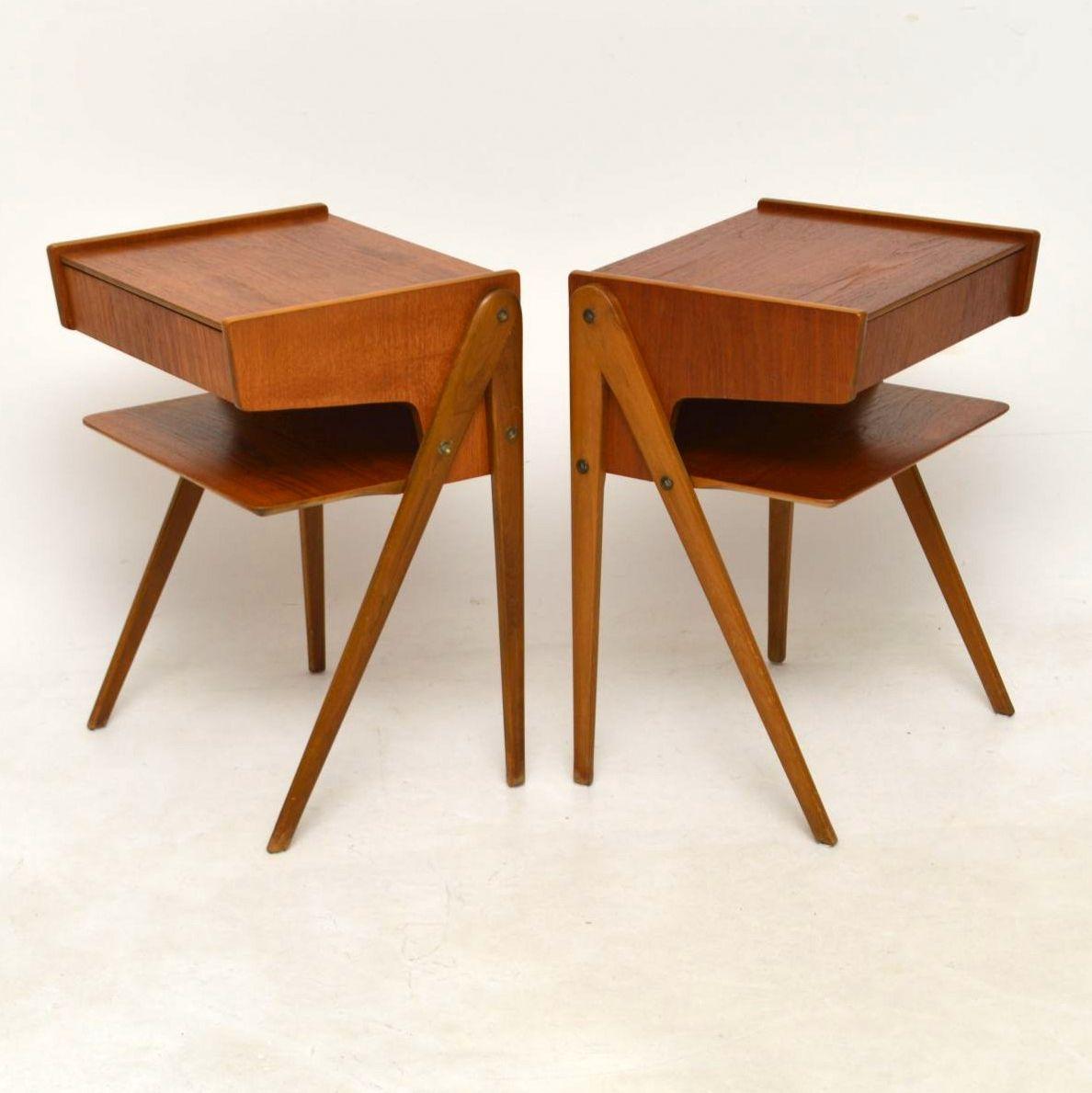 1960 S Pair Of Swedish Vintage Teak Bedside Tables