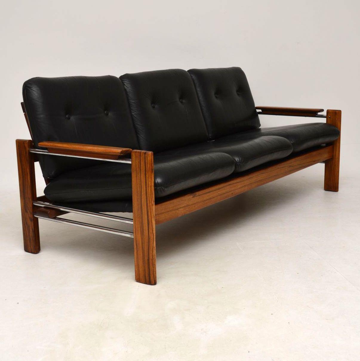 1960's Walnut, Leather & Chrome Vintage Sofa