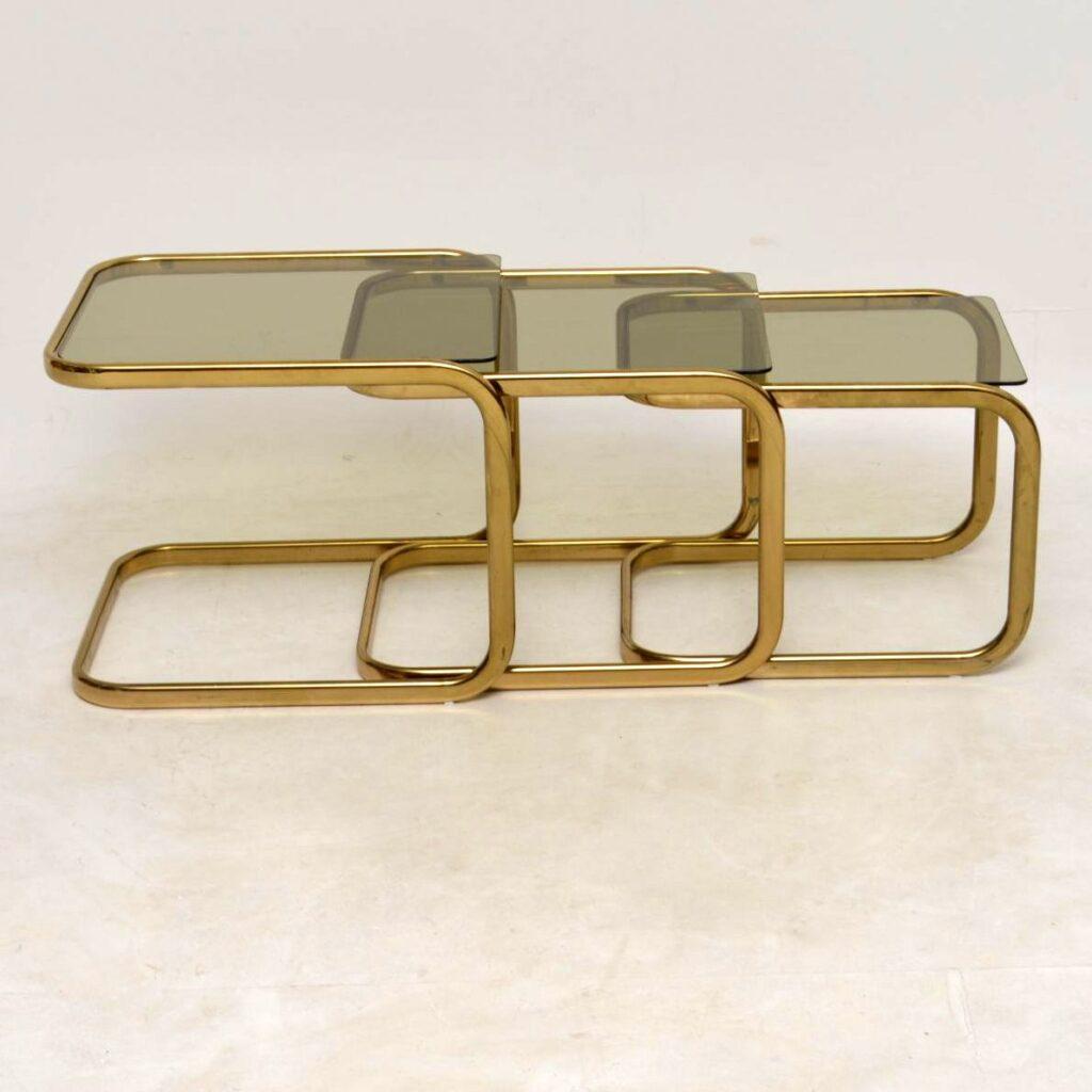 vintage brass italian nest of tables