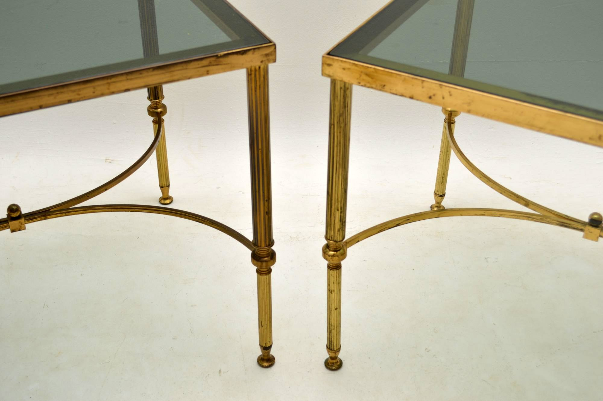 ... 1950u0027s Pair Of Vintage Brass Side Tables ...